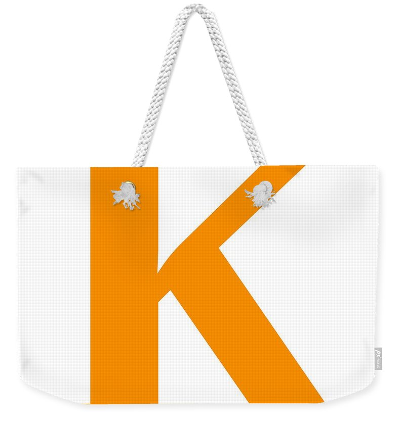 K Weekender Tote Bag featuring the digital art K In Tangerine Typewriter Style by Custom Home Fashions