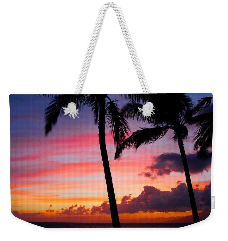 Kaanapali Sunset Weekender Tote Bag featuring the photograph Kaanapali Sunset Kaanapali Maui Hawaii by Michael Bessler