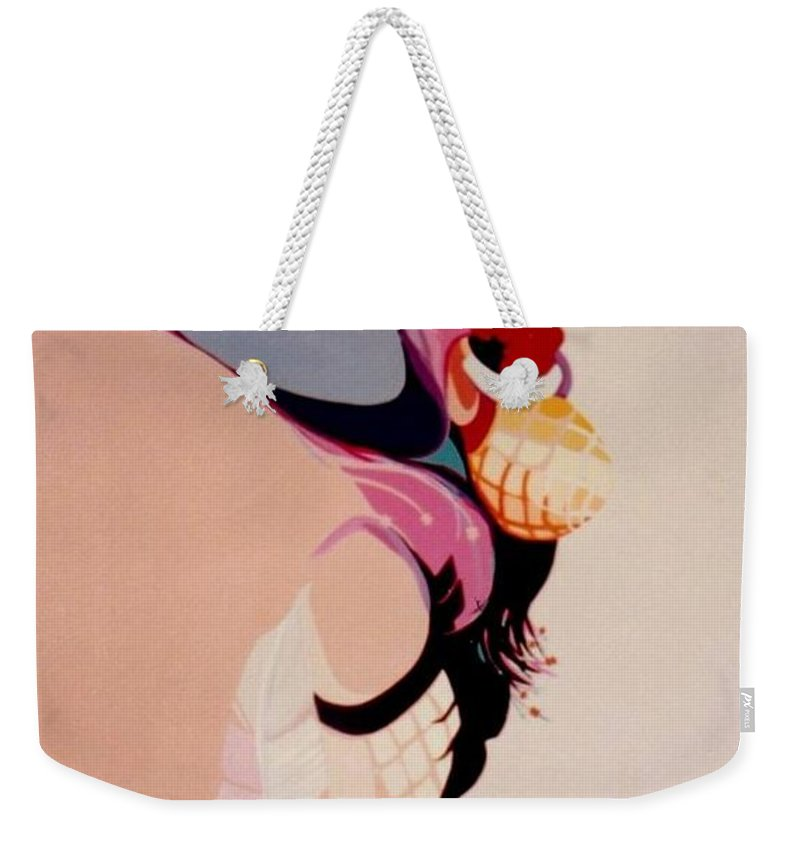 Kachina Weekender Tote Bag featuring the painting Kachina 1 by Marlene Burns