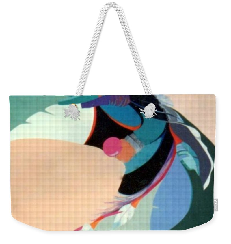 Kachina Weekender Tote Bag featuring the painting Kachina 2 by Marlene Burns