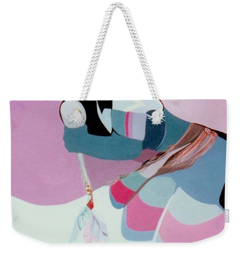 Weekender Tote Bag featuring the painting Kachina 6 by Marlene Burns