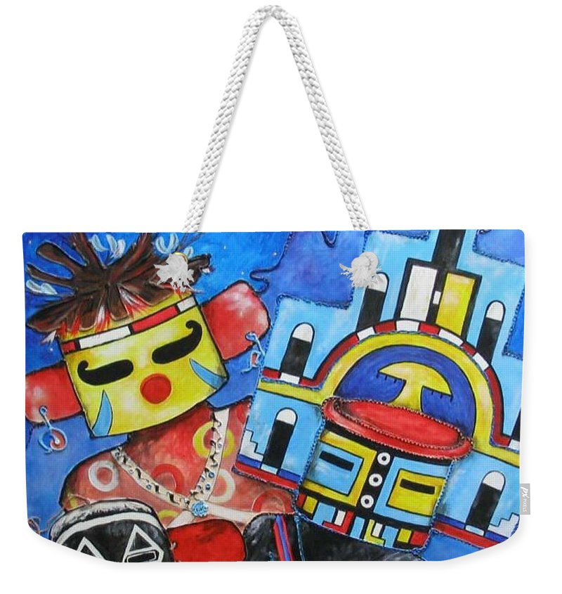 Native Weekender Tote Bag featuring the painting Kachina Knights by Elaine Booth-Kallweit
