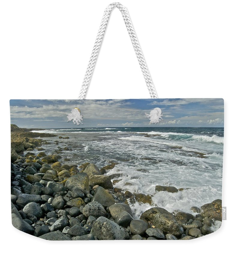 Hawaii Weekender Tote Bag featuring the photograph Kaena Point Shoreline by Michael Peychich