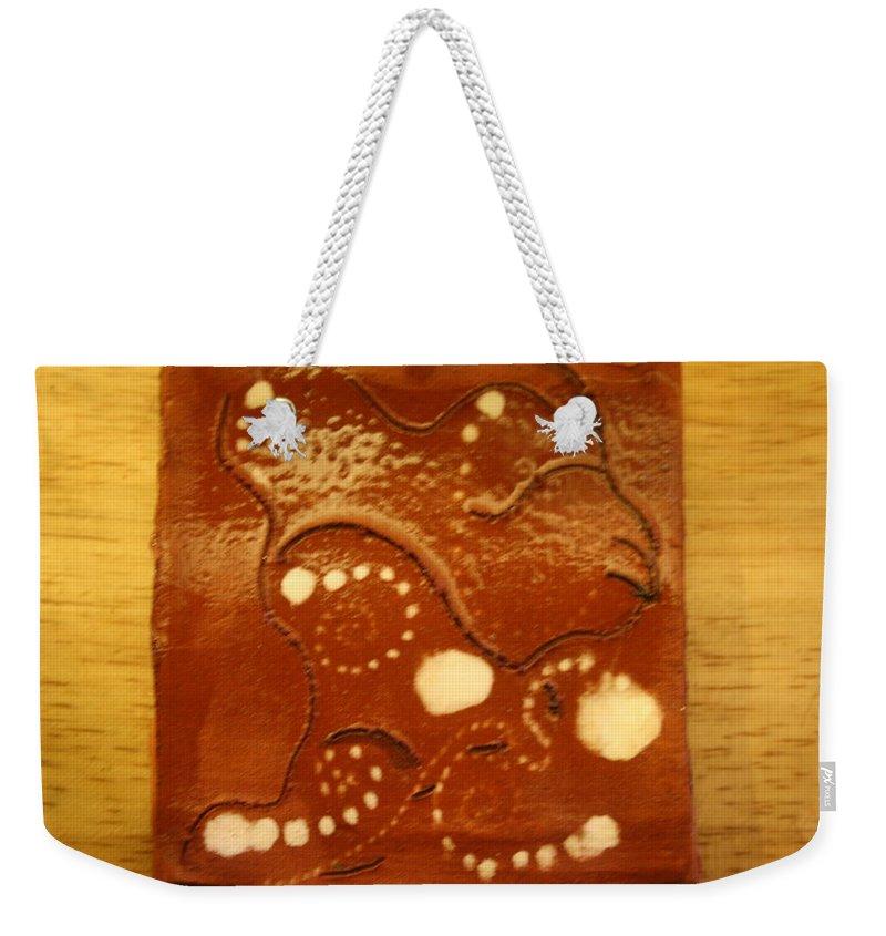 Jesus Weekender Tote Bag featuring the ceramic art Kagale - Tile by Gloria Ssali