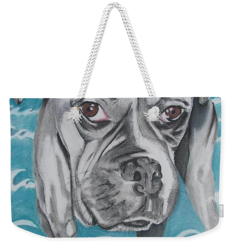 Dog Painting Weekender Tote Bag featuring the painting Kailey At The Beach by Michelle Hayden-Marsan