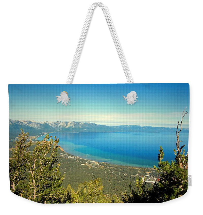 Lake-tahoe Weekender Tote Bag featuring the photograph Lake Tahoe From The Top Of Heavenly Gondola by Joyce Dickens