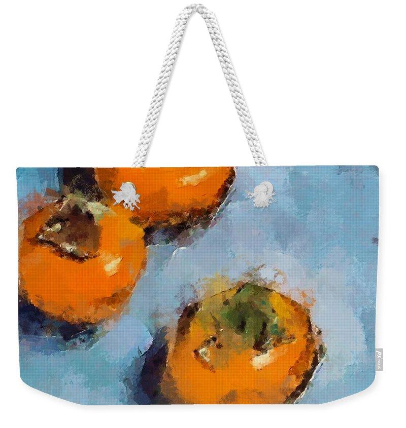 Kaki. Fruits Weekender Tote Bag featuring the painting Kaki by Dragica Micki Fortuna