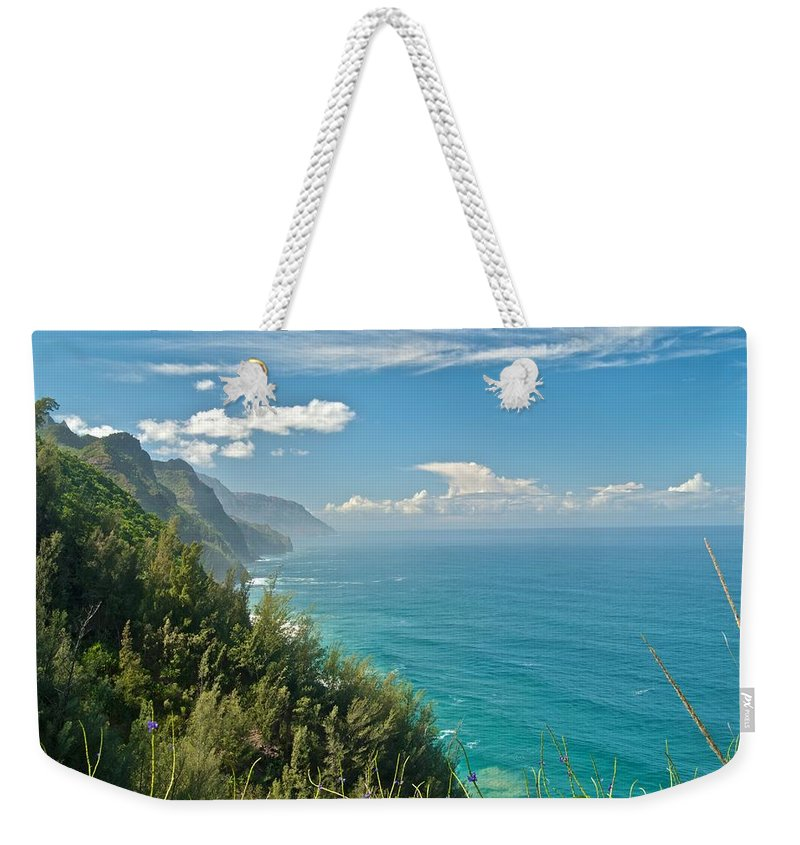 America Weekender Tote Bag featuring the photograph Kalalau Trail Overlook by Michael Peychich