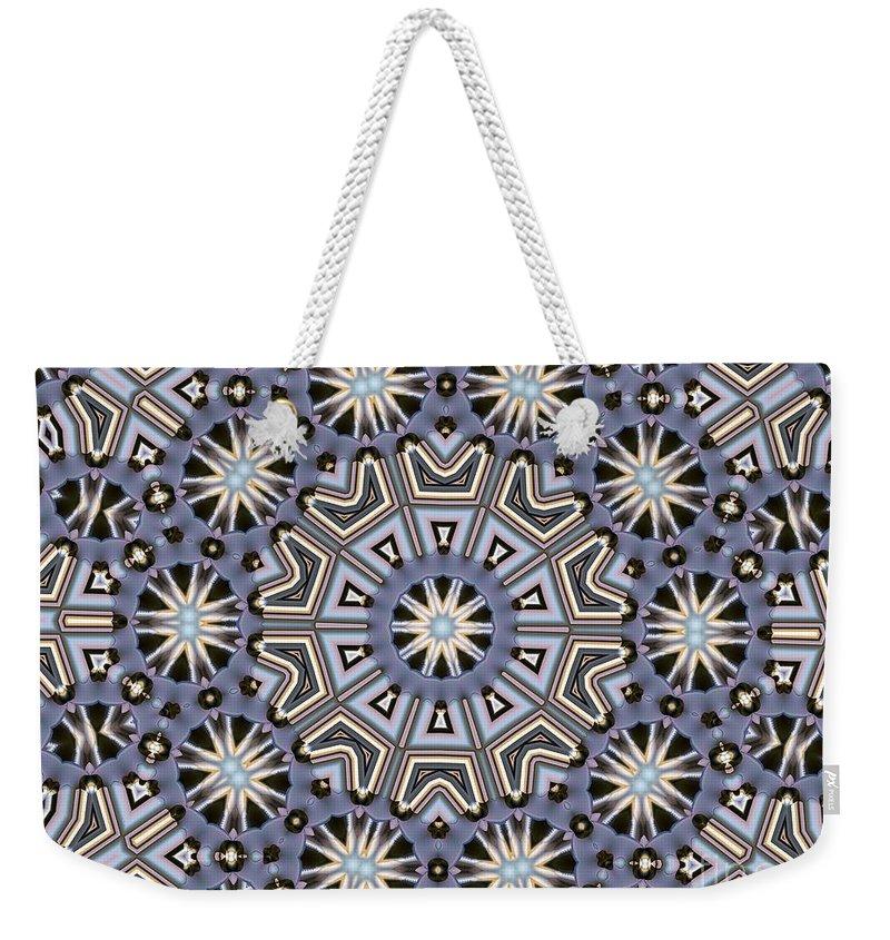 Kaleidoscope Weekender Tote Bag featuring the digital art Kaleidoscope 104 by Ron Bissett