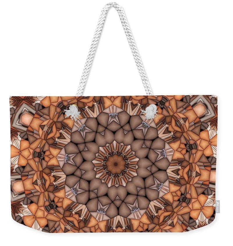 Kaleidoscope Weekender Tote Bag featuring the digital art Kaleidoscope 121 by Ron Bissett