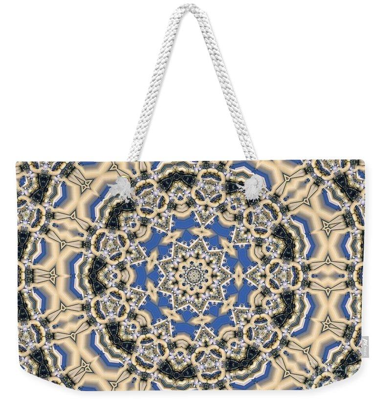 Kaleidoscope Weekender Tote Bag featuring the digital art Kaleidoscope 77 by Ron Bissett