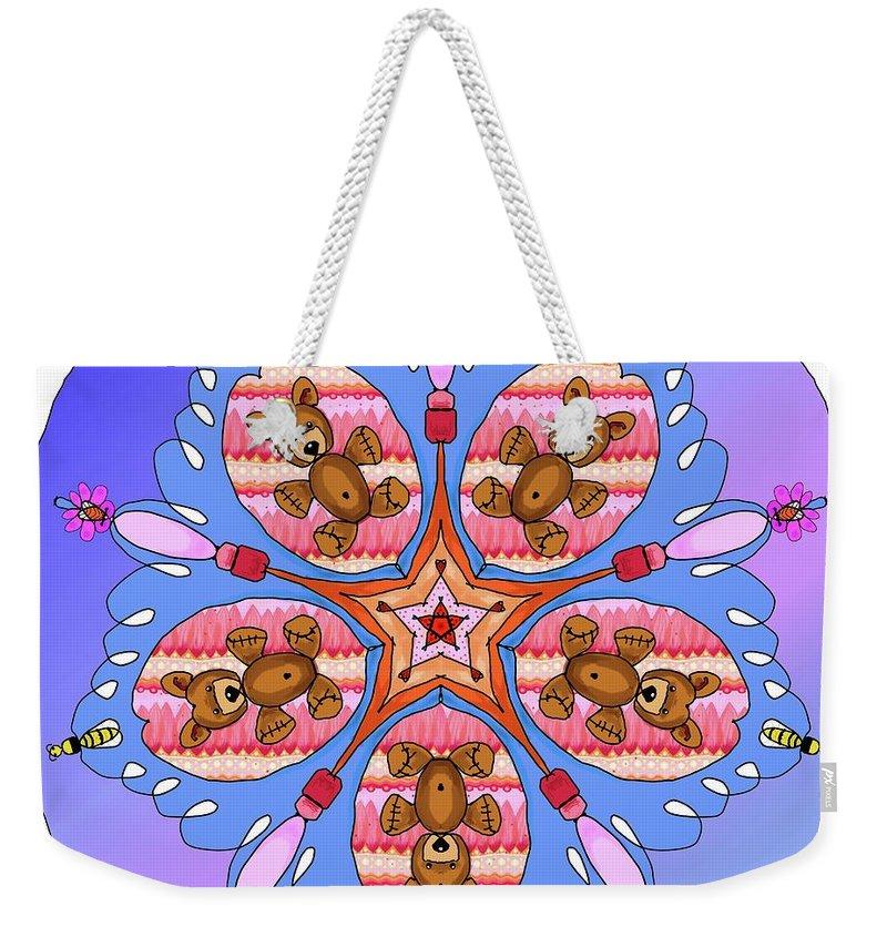 Kaleidoscope Weekender Tote Bag featuring the digital art Kaleidoscope Of Bears And Bees by Debra Baldwin