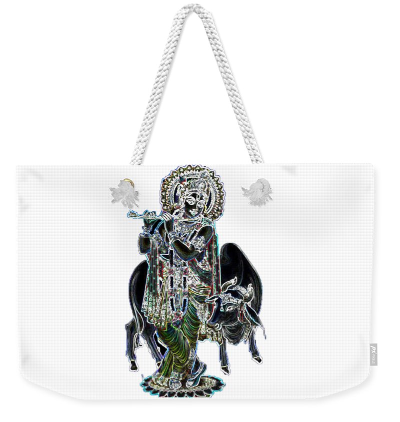 Krishna Weekender Tote Bag featuring the digital art Kanha With Cow by Shreyash