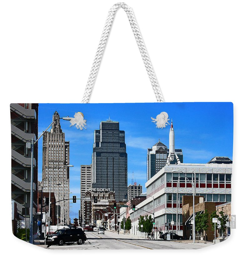 City Scape Weekender Tote Bag featuring the photograph Kansas City Cross Roads by Steve Karol