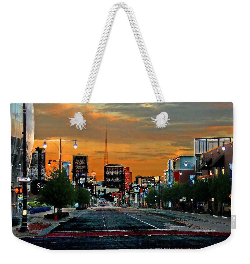 Landscape Weekender Tote Bag featuring the photograph Kansas City Evening by Steve Karol