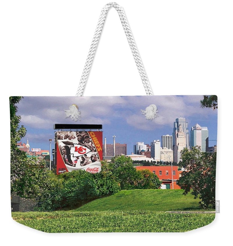 Landscape Weekender Tote Bag featuring the photograph Kansas City Sky Line by Steve Karol