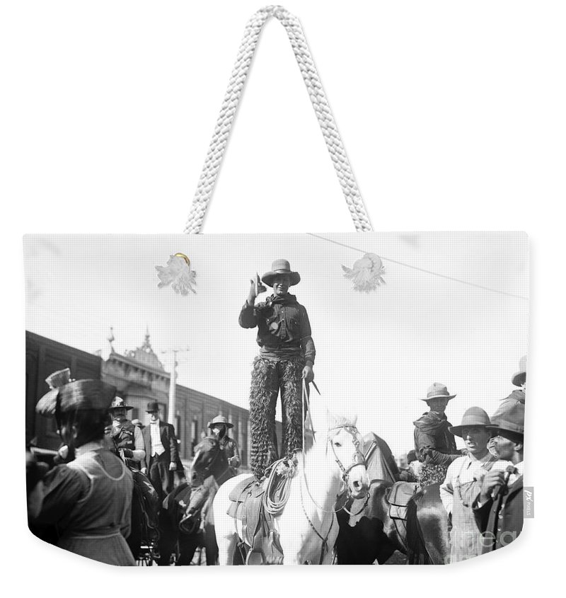 1908 Weekender Tote Bag featuring the photograph Kansas: Cowboy, C1908 by Granger