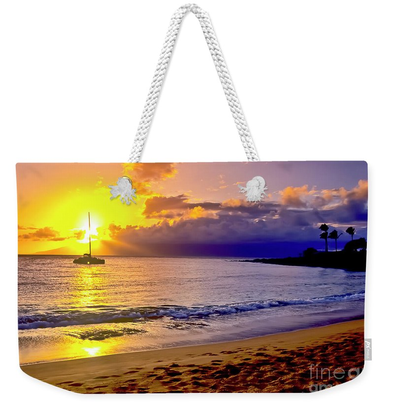 Scenics Weekender Tote Bag featuring the photograph Kapalua Bay Sunset by Jim Cazel