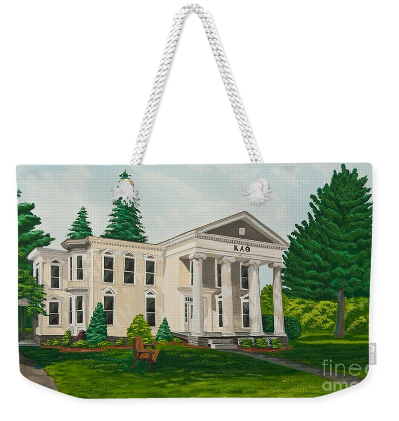 Colgate University History Weekender Tote Bag featuring the painting Kappa Alpha Theta by Charlotte Blanchard