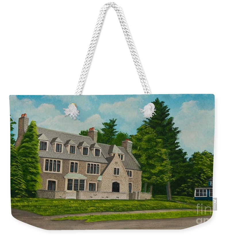 Kappa Delta Rho Frat House Weekender Tote Bag featuring the painting Kappa Delta Rho North View by Charlotte Blanchard