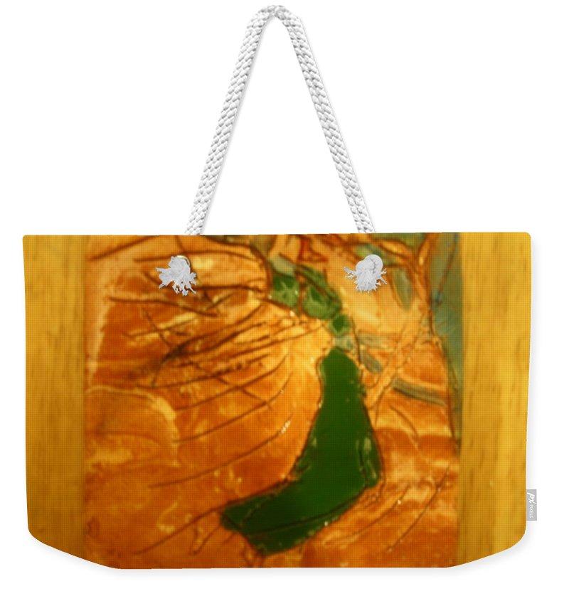 Jesus Weekender Tote Bag featuring the ceramic art Karibuni - Tile by Gloria Ssali