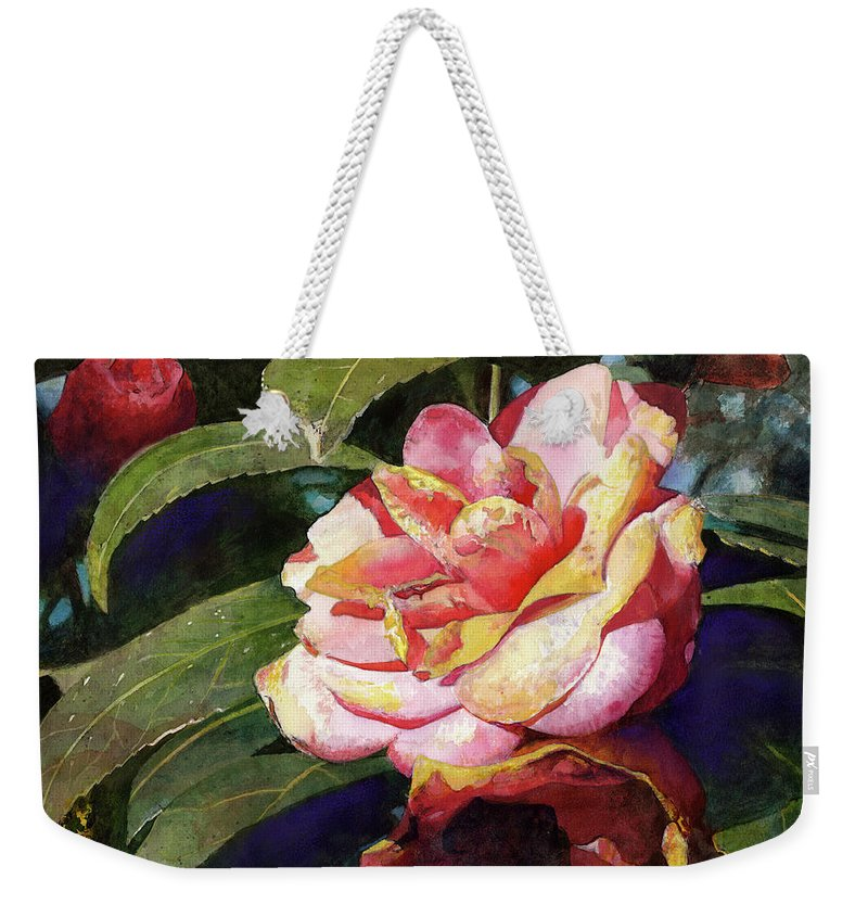 Flower Weekender Tote Bag featuring the painting Karma Camellia by Andrew King