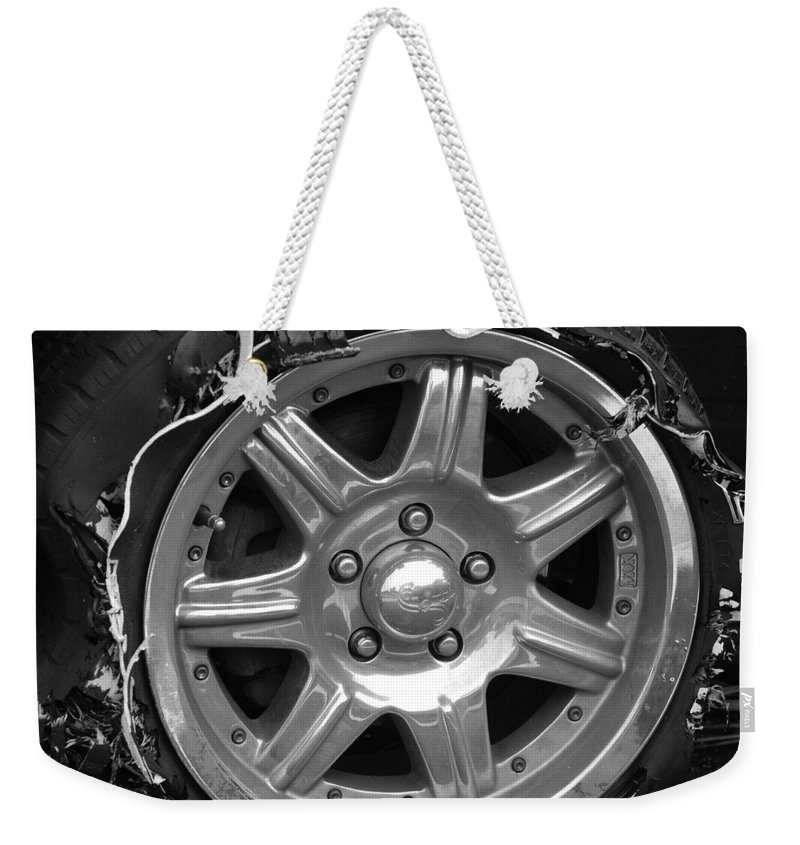 Black And White Weekender Tote Bag featuring the photograph Karma Is A Bitch by Rob Hans