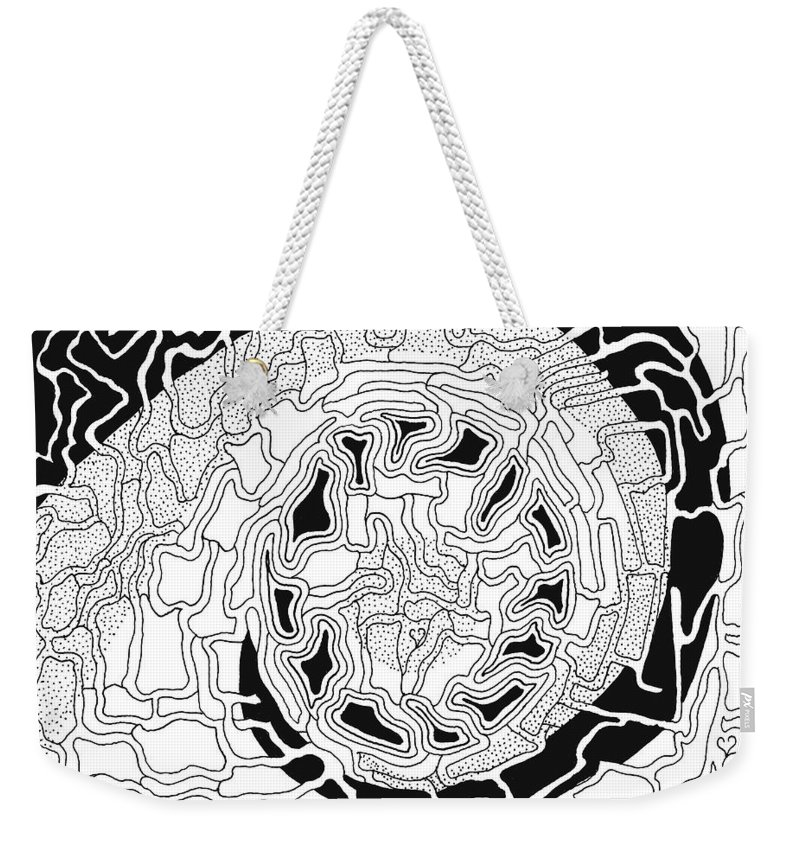 Abstract Weekender Tote Bag featuring the drawing Karma by Steven Natanson