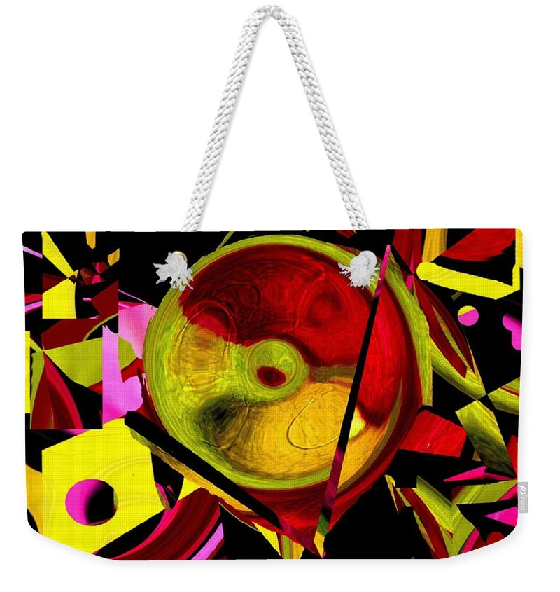 Abstract Weekender Tote Bag featuring the painting Karma Wheel by RC DeWinter