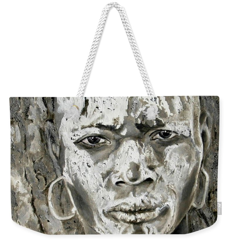 Tribal Art Weekender Tote Bag featuring the painting Karo Man by Portraits By NC