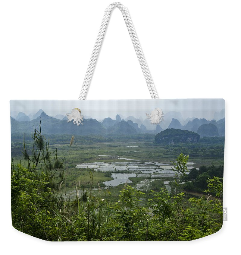Asia Weekender Tote Bag featuring the photograph Karst Landscape of Guangxi by Michele Burgess