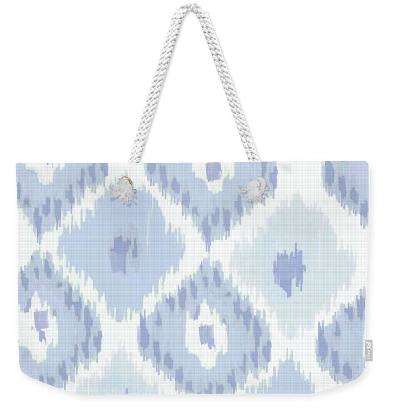 Ikat Weekender Tote Bag featuring the painting Kasbah Blue Ikat by Mindy Sommers