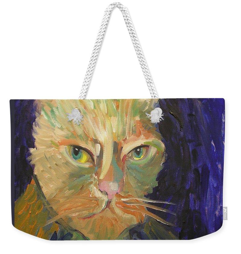 Van Gogh Weekender Tote Bag featuring the painting Kat-van-go by Gail Eisenfeld aka G Kitty Hansen