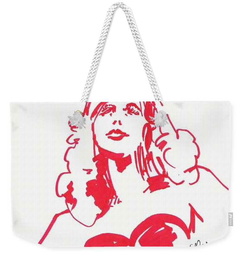 A Fashion Model And Movie Star Captured In A Classic %0 Weekender Tote Bag featuring the drawing Kate Moss by Seth Weaver