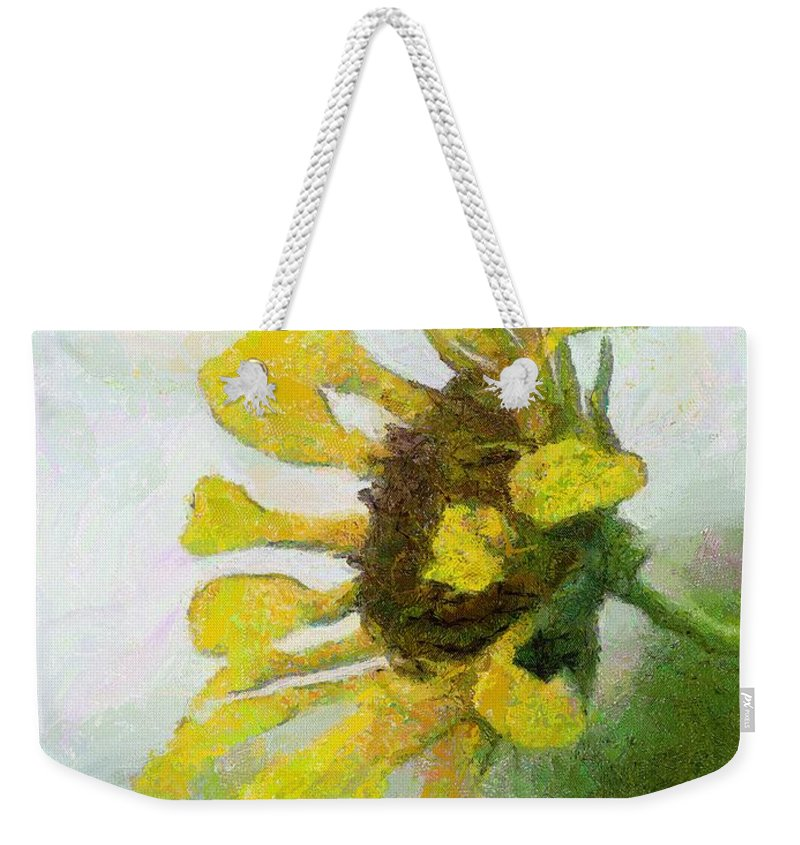 Sunflower Weekender Tote Bag featuring the painting Kate's Sunflower by Jeffrey Kolker