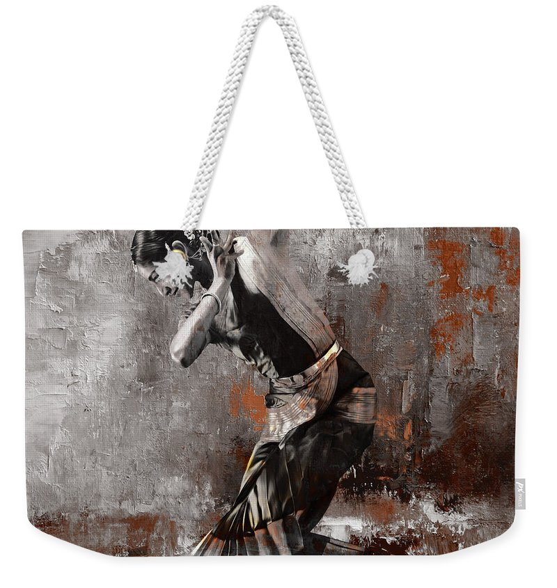 Dancer Weekender Tote Bag featuring the painting Kathak Dancer A1 by Gull G