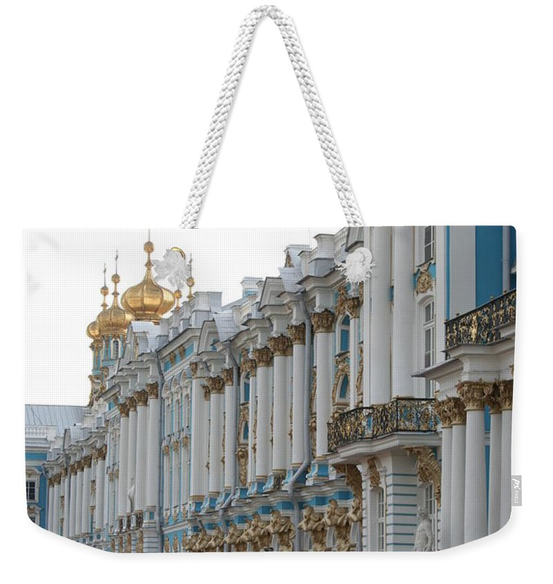 Palace Weekender Tote Bag featuring the photograph Katharinen Palace And Onion Domes - Russia by Christiane Schulze Art And Photography