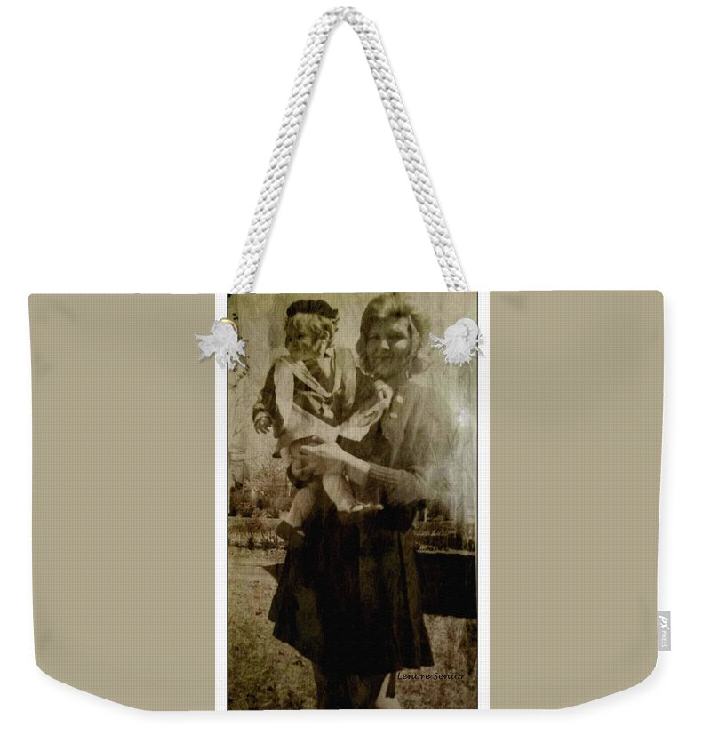 Expressive Weekender Tote Bag featuring the photograph Kathy Holding Kelly by Lenore Senior