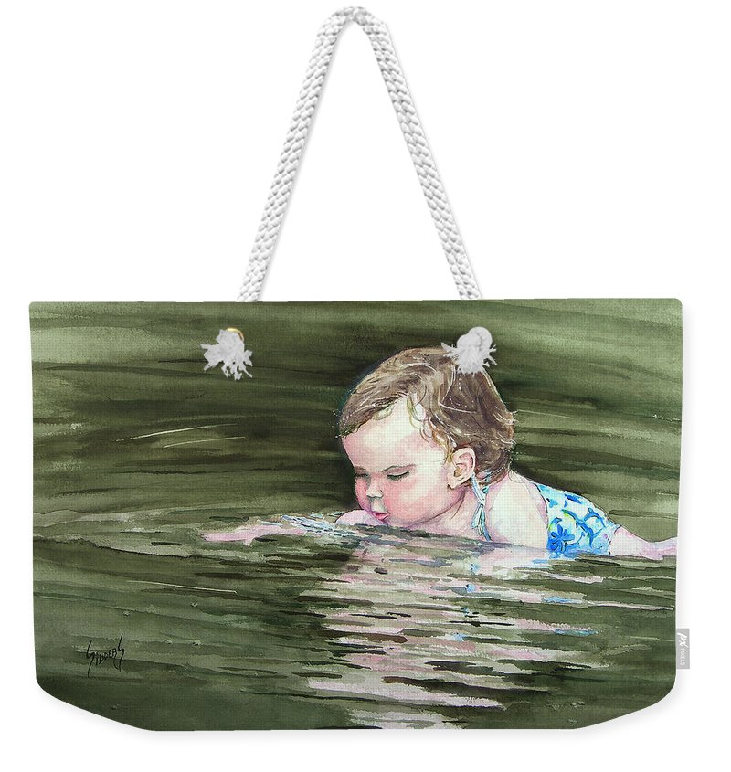 Child In River Weekender Tote Bag featuring the painting Katie Wants A River Rock by Sam Sidders