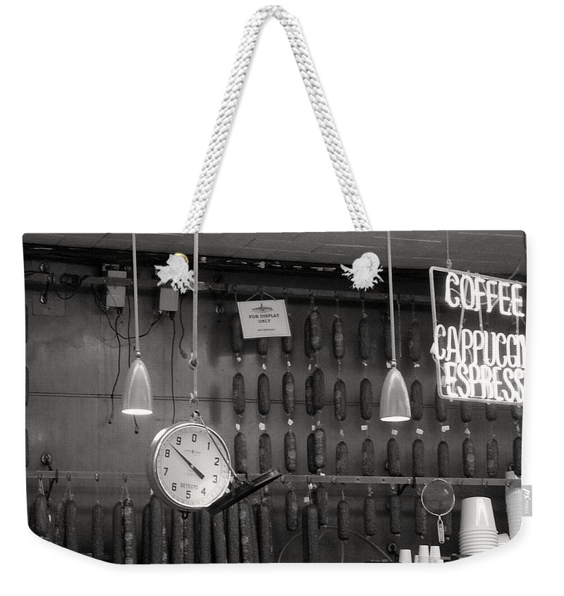 Deli Weekender Tote Bag featuring the photograph Katz Deli by Debbi Granruth