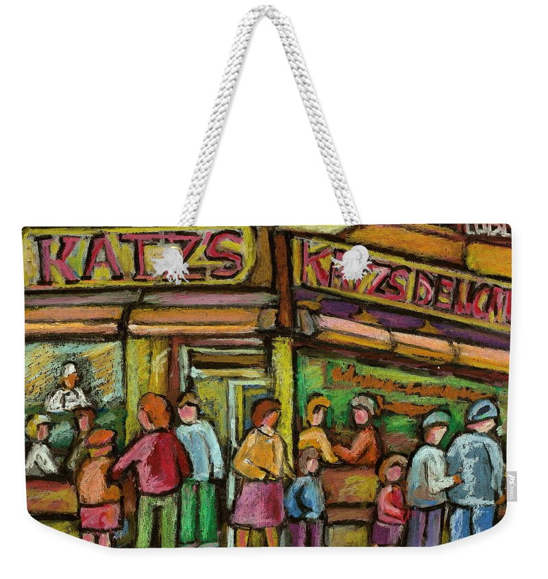 Katzs Delicatessen Weekender Tote Bag featuring the painting Katzs Delicatessan New York by Carole Spandau
