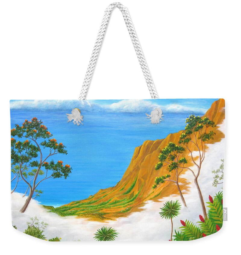 Landscape Weekender Tote Bag featuring the painting Kauai Hawaii by Jerome Stumphauzer