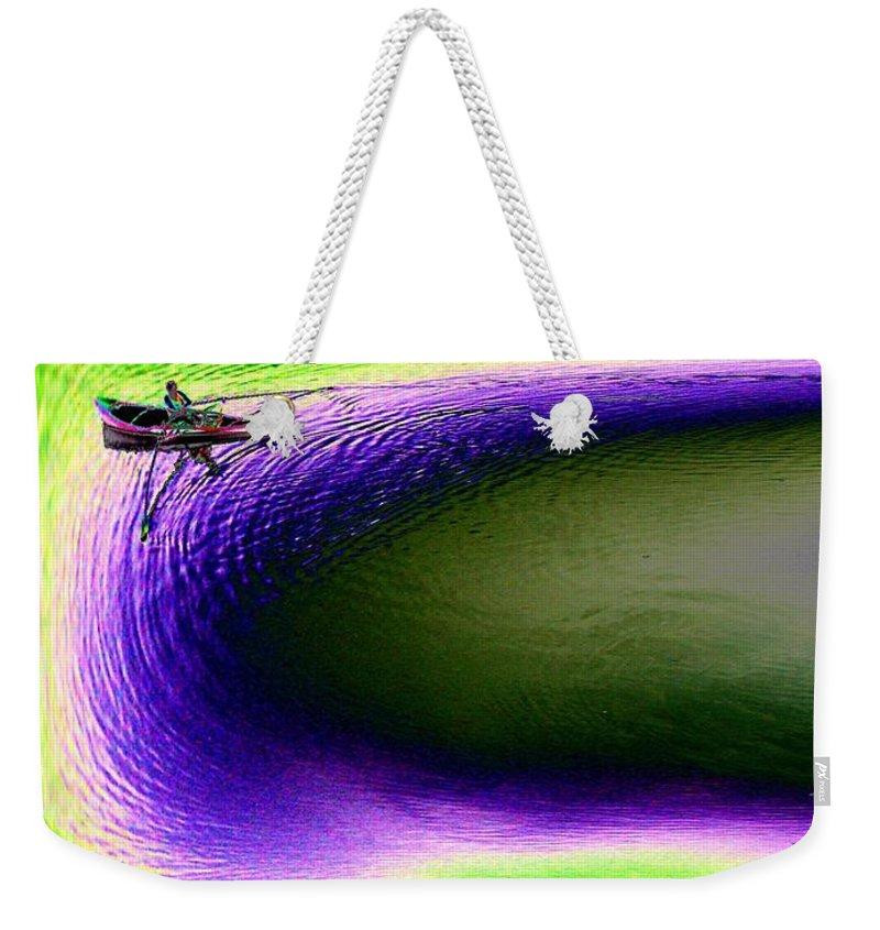 Seattle Weekender Tote Bag featuring the digital art Kayak In The Cut by Tim Allen