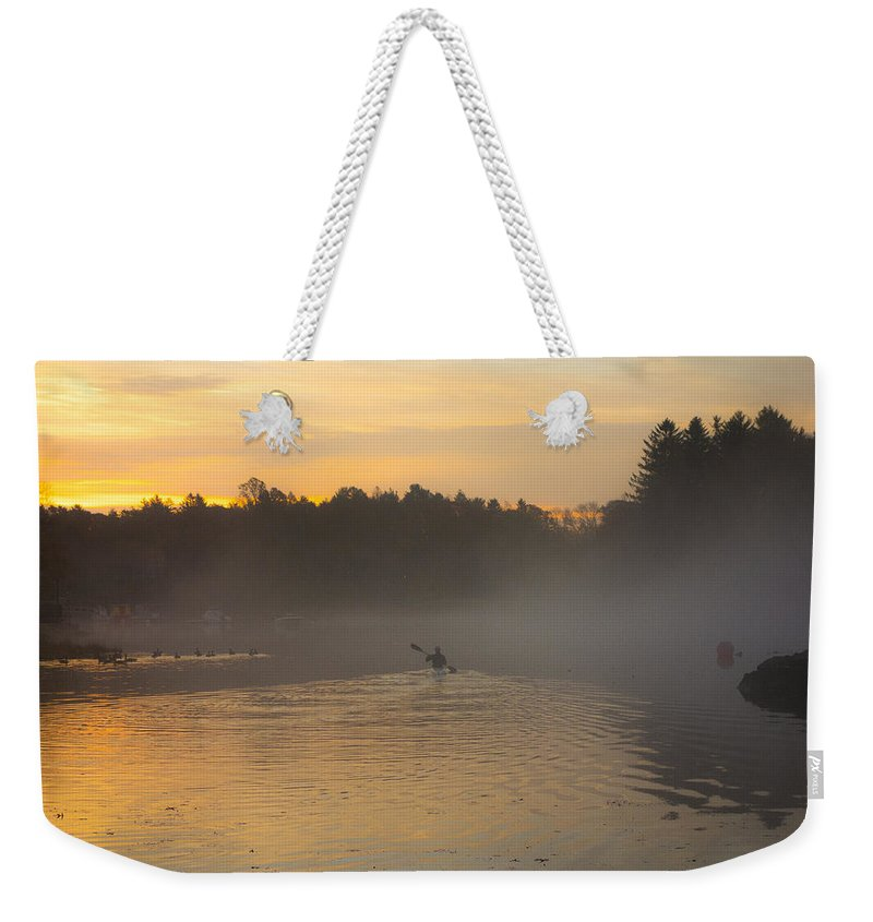 Dawn Weekender Tote Bag featuring the photograph Kayak On The River At Dawn by David Stone