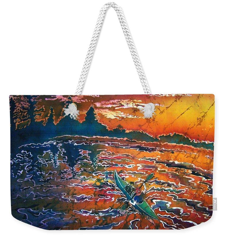 Kayak Weekender Tote Bag featuring the painting Kayak Serenity by Sue Duda