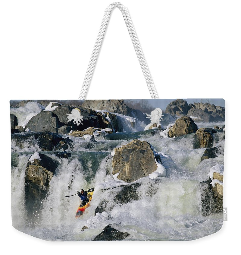 Water Weekender Tote Bag featuring the photograph Kayaker Running Great Falls by Skip Brown