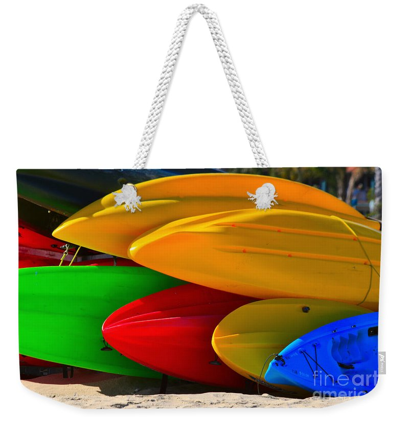 Kayaks Weekender Tote Bag featuring the photograph Kayaks On The Beach by James BO Insogna