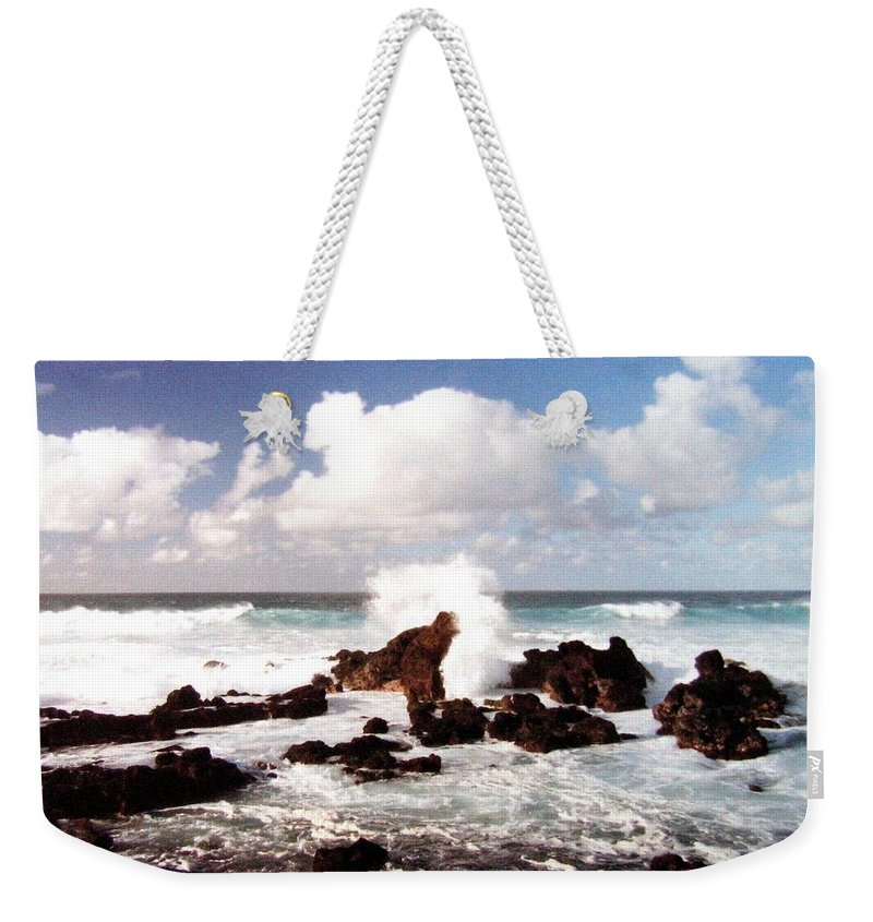 1986 Weekender Tote Bag featuring the photograph Keanae Peninsula by Will Borden