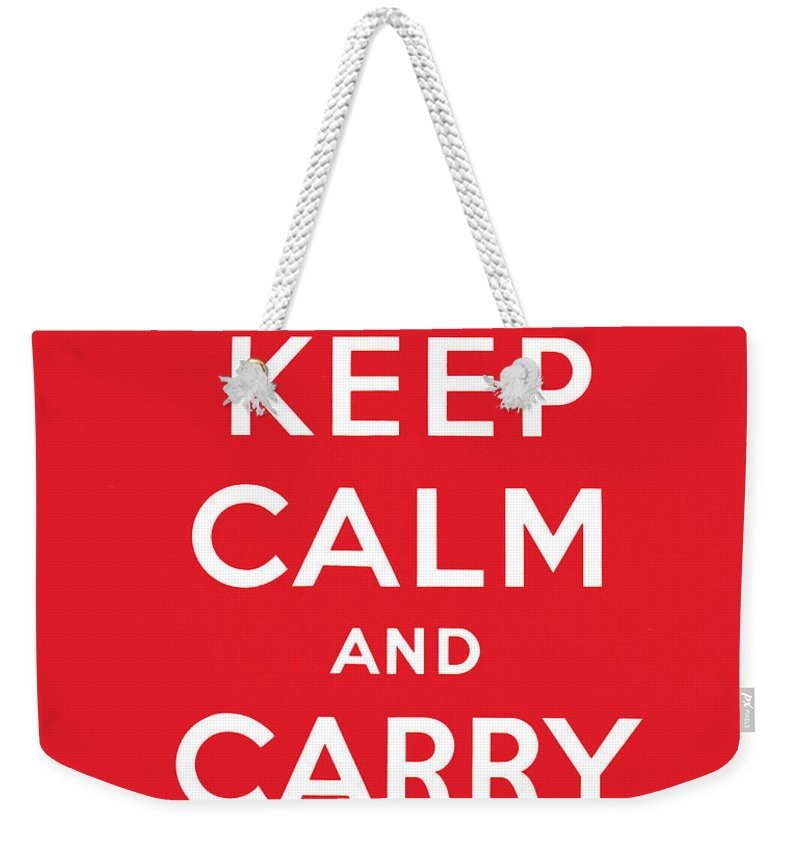 Keep Weekender Tote Bag featuring the painting Keep Calm And Carry On by English School