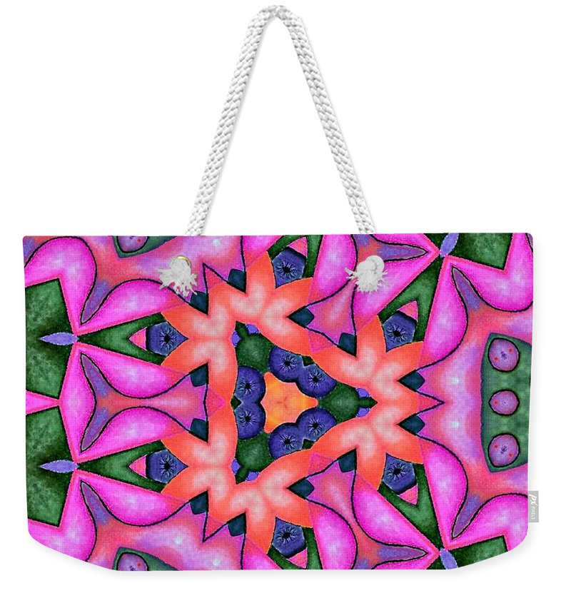 Kaleidoscope Weekender Tote Bag featuring the mixed media Keep Moving by Laurie's Intuitive
